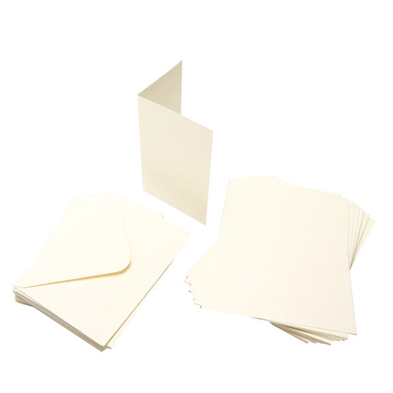 Cards Single Fold A6 Cream Budget  50 Pack