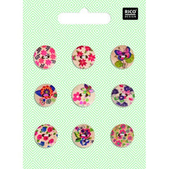 Rico - Wooden Button Mix Floral 9 Pcs.