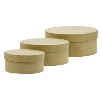 Set of 3 Paper Mache Kraft Oval Boxes