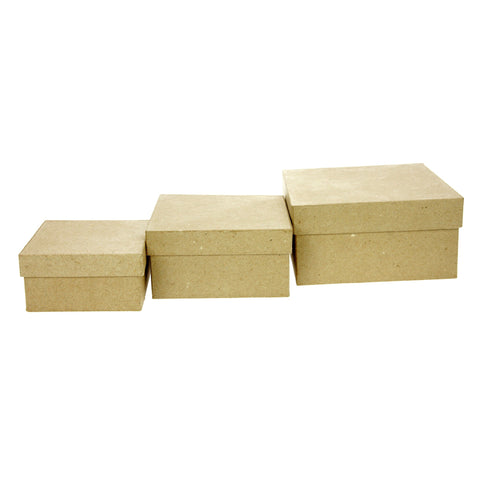 Set of 3 Kraft Paper Mache Square Medium Boxes