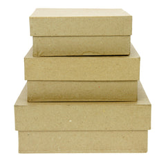 Set of 3 Kraft Paper Mache Square Large Boxes