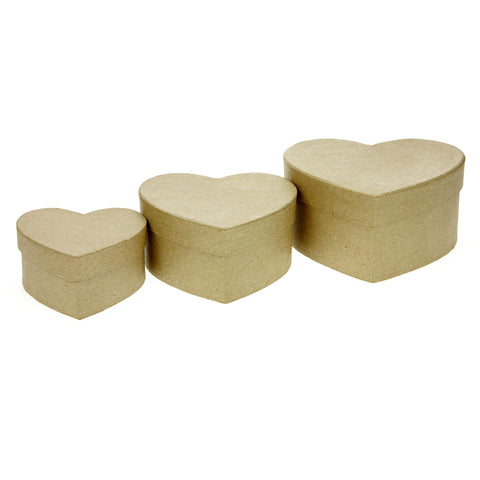 Set of 3 Kraft Paper Mache Heart Boxes