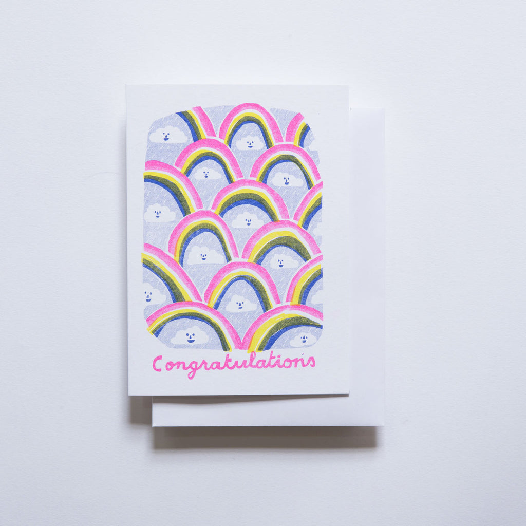 Yellow Owl Risograph Card - Congratulations Clouds