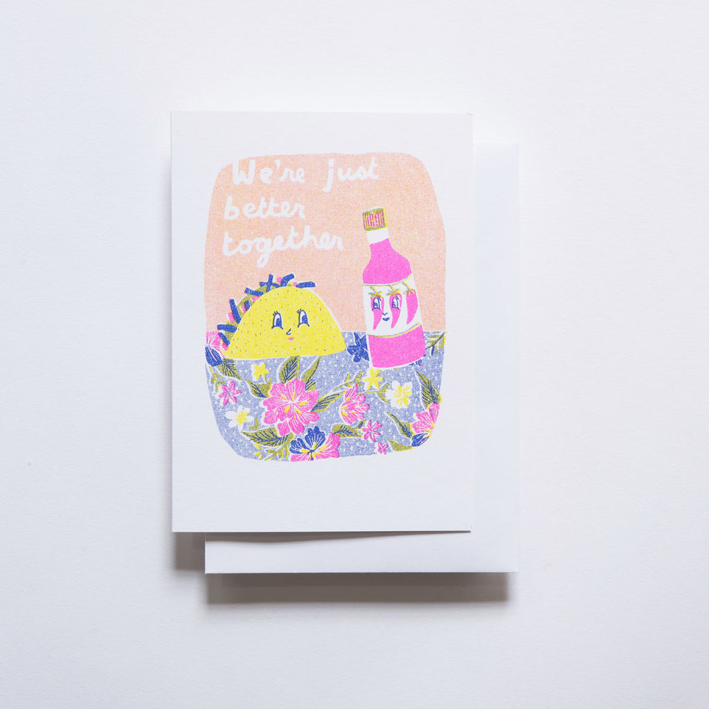 Yellow Owl Risograph Card - Better Together Taco