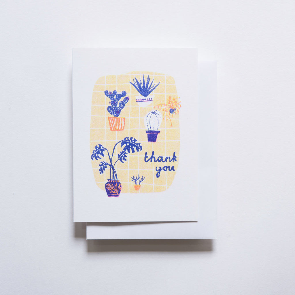 Yellow Owl Risograph Card - Thank You Plants