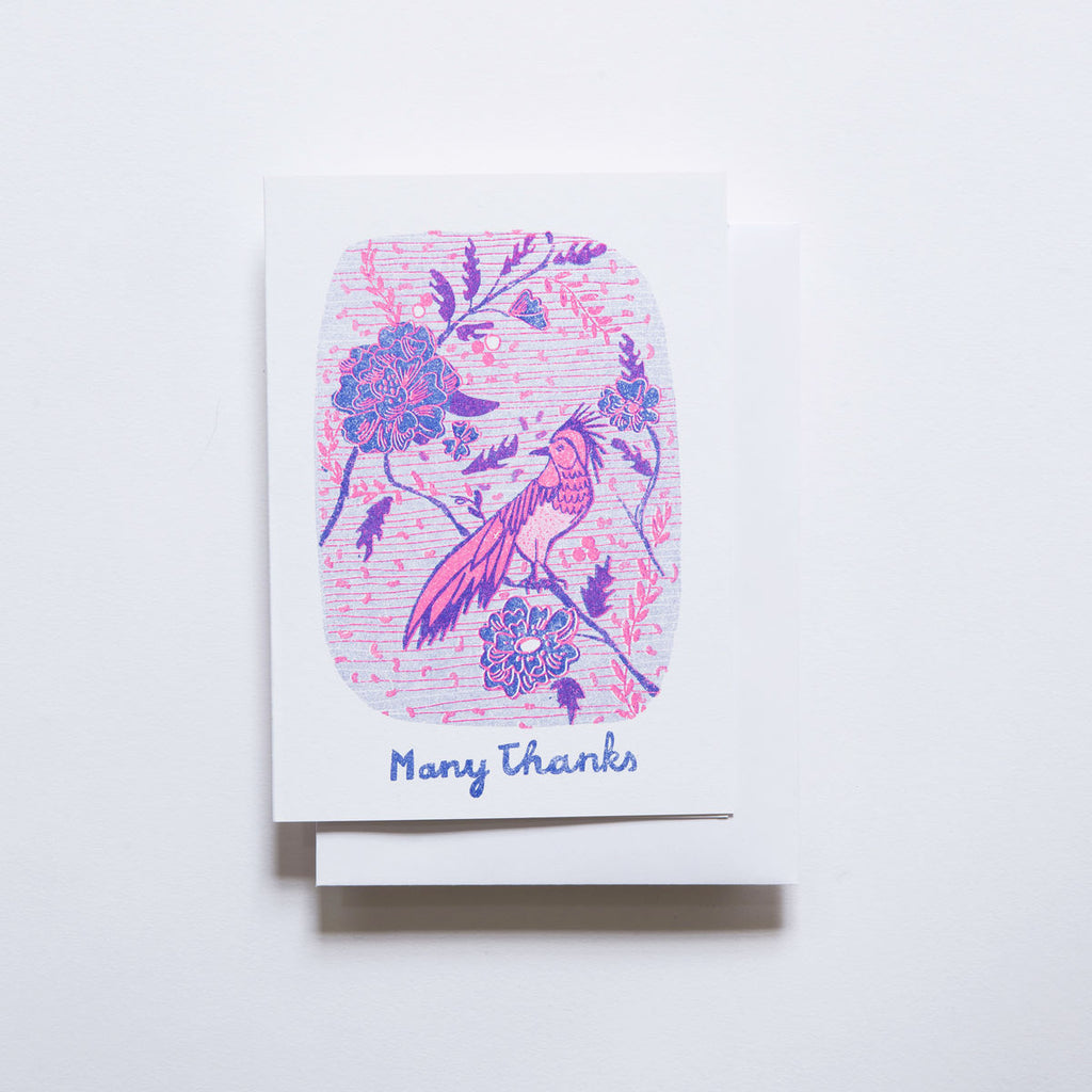Yellow Owl Risograph Card - Many Thanks Bird
