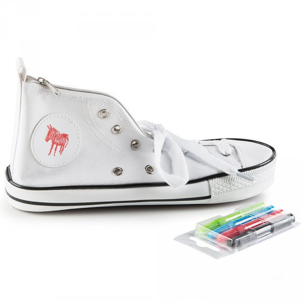 Donkey Donkey Doodle: Sneaker Shaped Pencil Case (White)