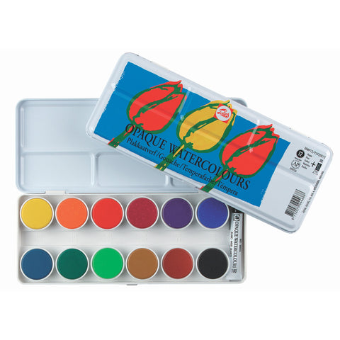 TALENS Opaque Watercolour Paint Set Metal 12 Pans