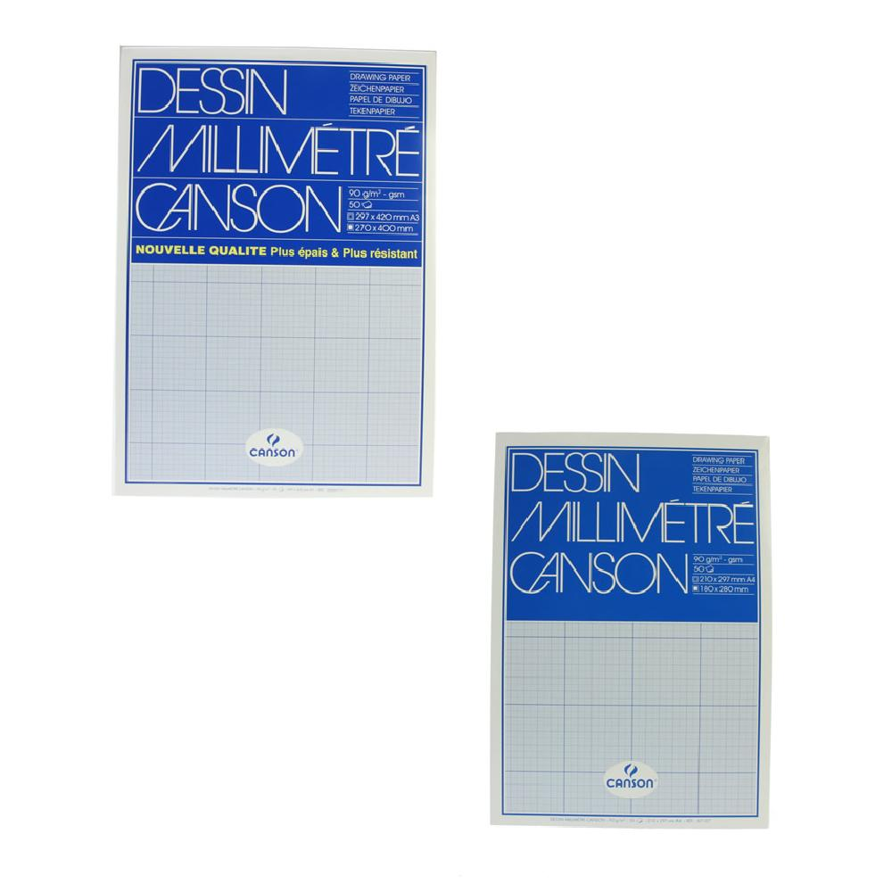 Canson mm Dessin Graph Pad Blue Grid
