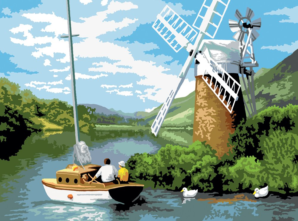 Paint By Numbers Adult Large - Windmill On The River