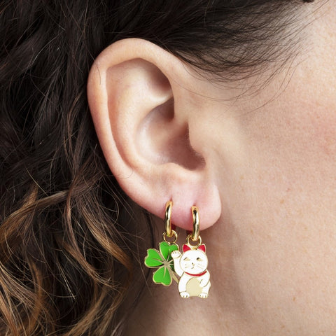 YOW Earrings Lucky Cat & Clover