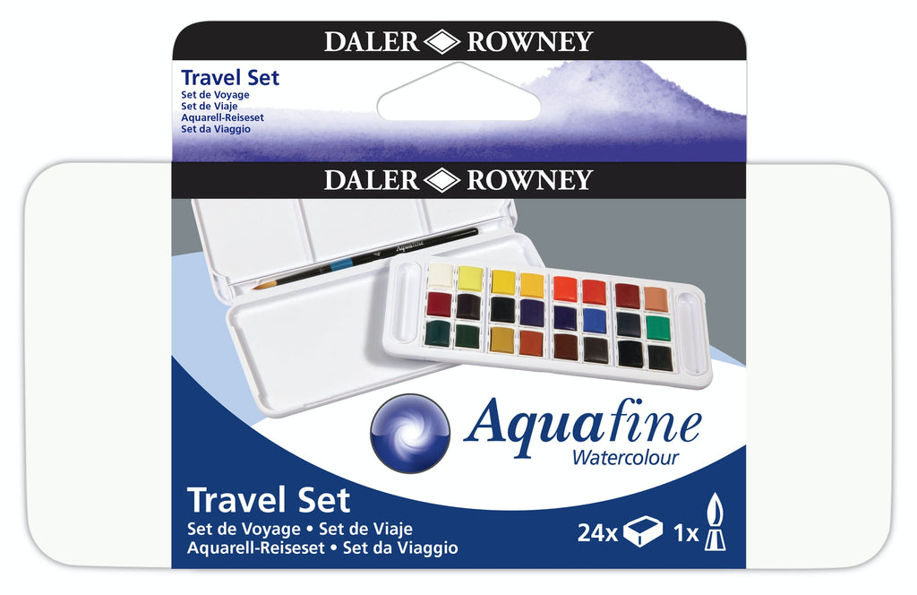 Daler Rowney Aquafine Watercolour Travel Set 24 Half Pans
