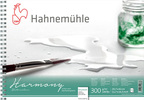 Hahnemuhle Harmony Watercolour 300gsm Hot Pressed A3 Spiral Bound