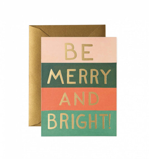 Be Merry And Bright Colour Block Greetings Card