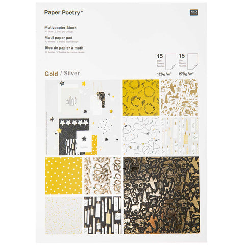 Motif Paper Pad Christmas Silver And Gold