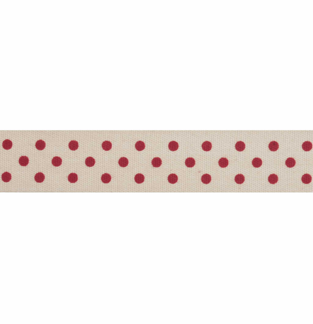 Natural Trim - 5m x 15mm - Dots - Red