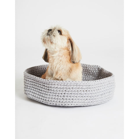 Grey basket with Shi Tzu