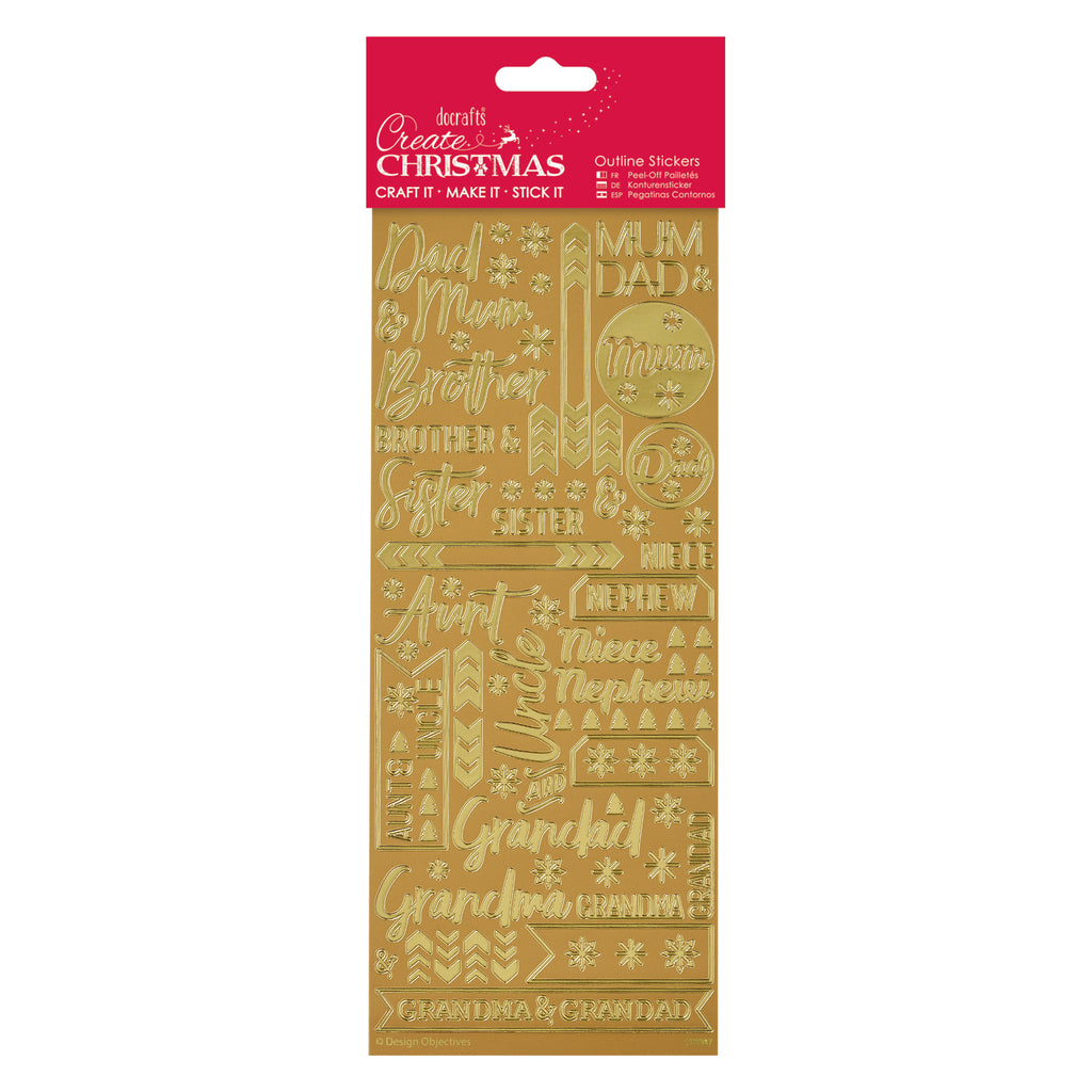 Create Christmas - Outline Stickers - Contemporary Xmas Relations Gold