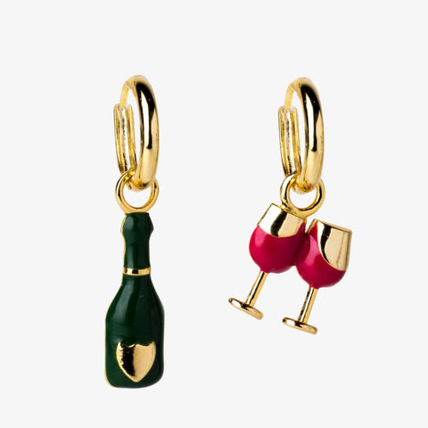 YOW Earrings Champagne & Glass