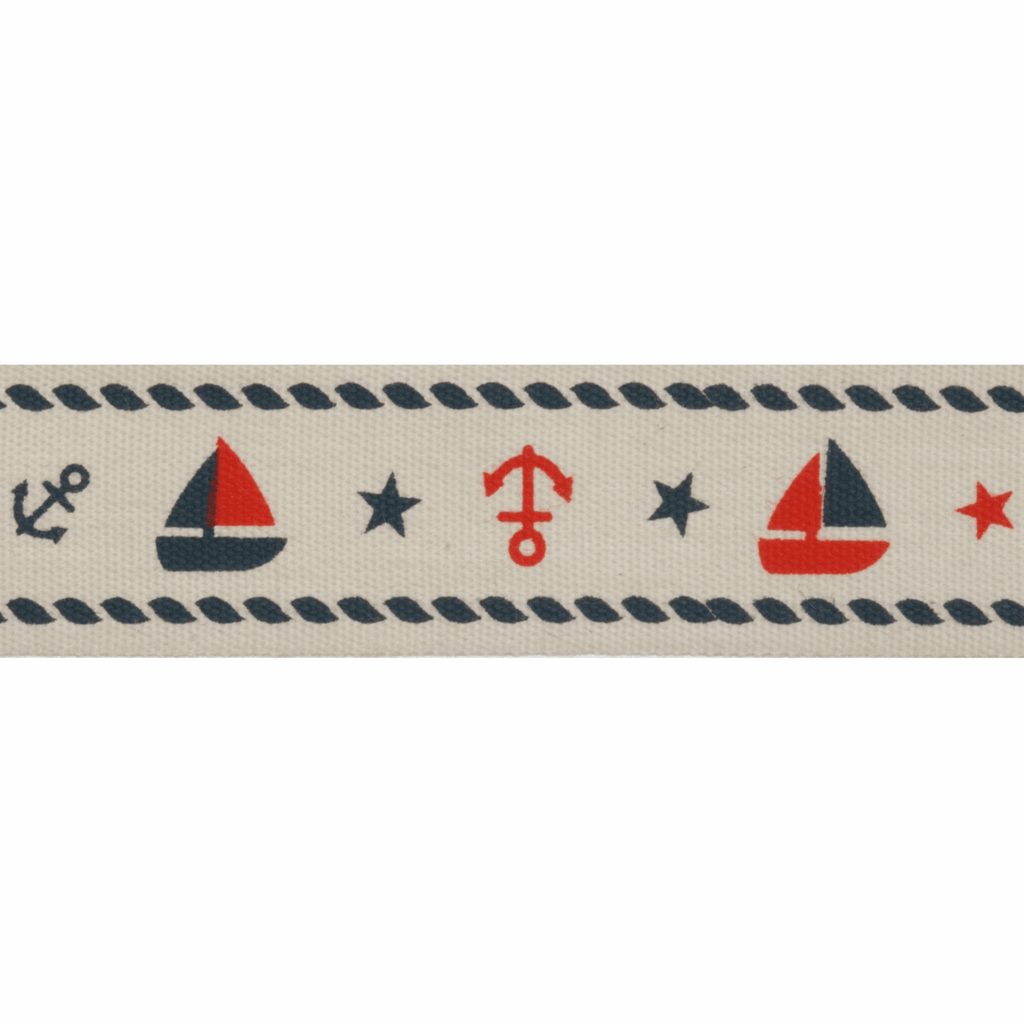 Natural Trim- 5m x 20mm - Nautical - Red & Navy