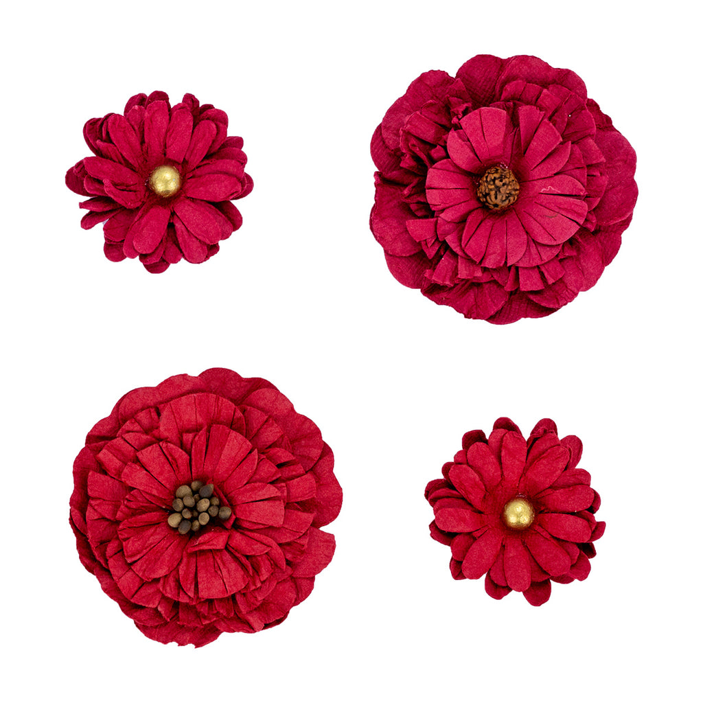 Red Paper Flowers - 4 pack