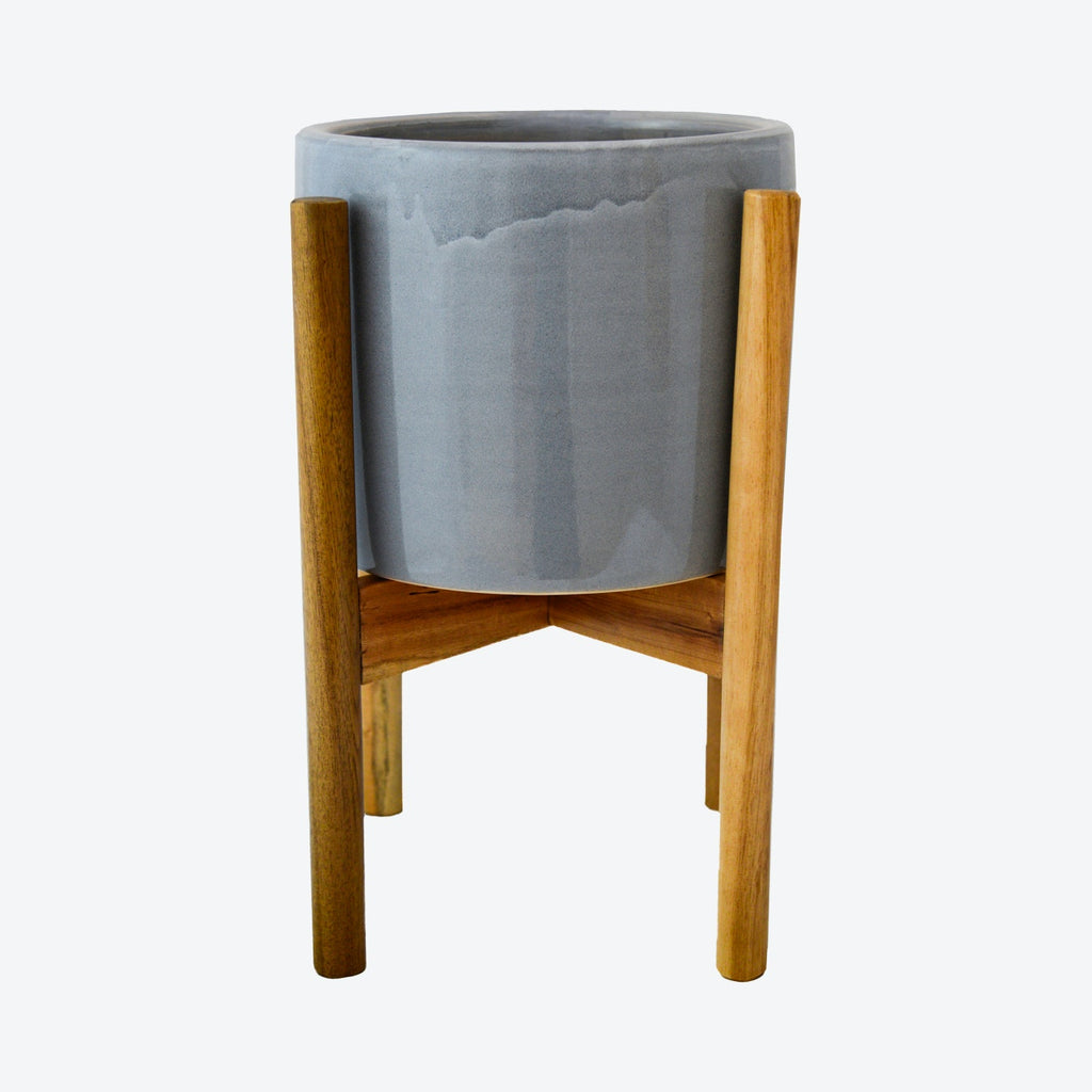 Anzio Warm Grey Planter With Wooden Stand