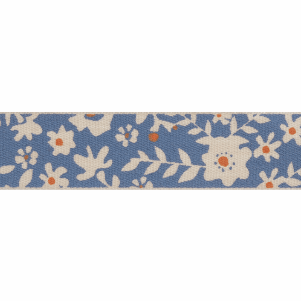 Natural Trim - 5m x 15mm - Floral - Blue & Orange