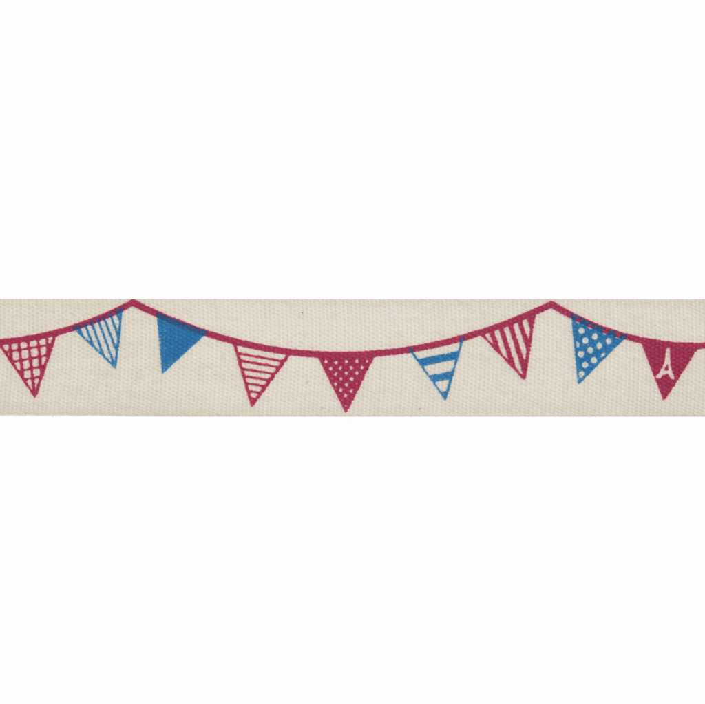 Natural Trim- 5m x 15mm - Bunting - Red & Navy