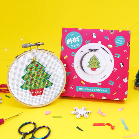 The Make Arcade - Mini Cross Stitch Kit - Christmas Tree