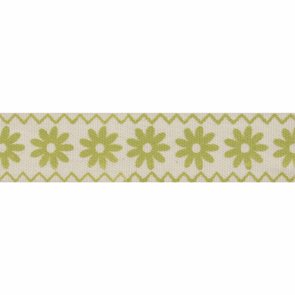 Natural Trim- 5m x 15mm - Zigzag Flowers - Lime Green