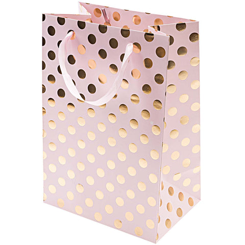 Gift Bag Pink With Gold Dots