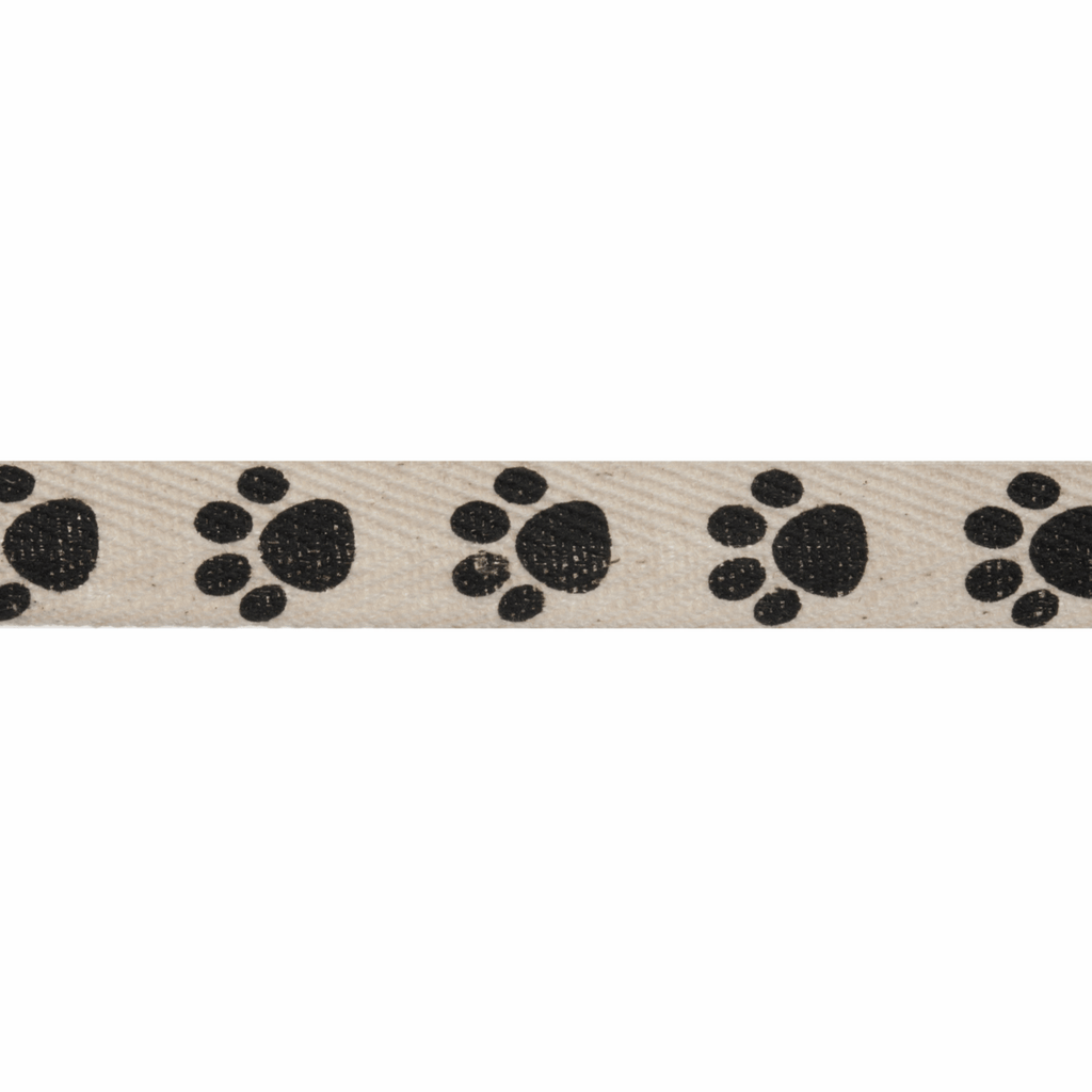 Natural Trim- 5m x 15mm - Paw Prints - Black