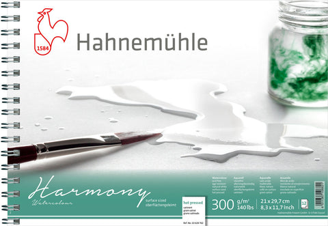 Hahnemuhle Harmony Watercolour 300gsm Hot Pressed A4 Spiral Bound