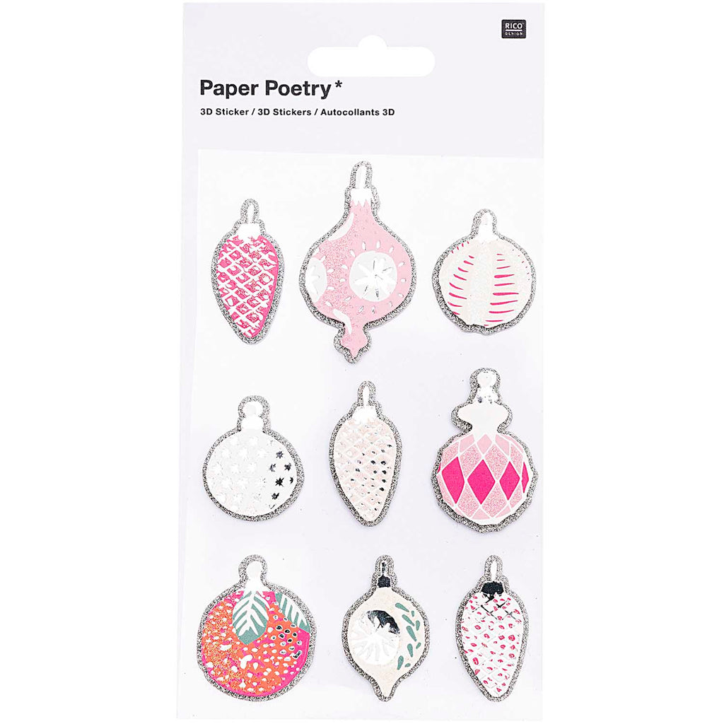 3D Stickers Pink Christmas Tree Decorations