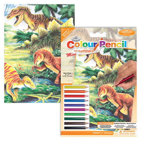 Colour Pencil By Numbers Mini -  Dinosaur Fun