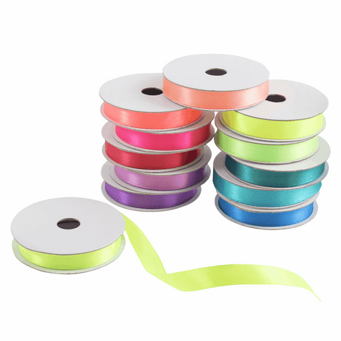 Satin Ribbon Bag: Neon Brights: 10mm x 2m: 12 Pieces