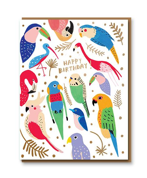 Tropical Feathers Birthday Card