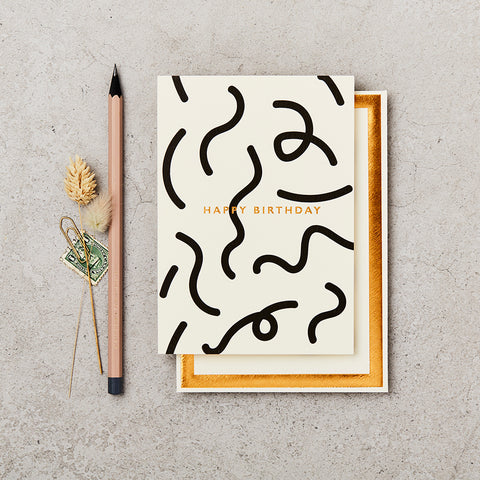Black & White Birthday Squiggle Card
