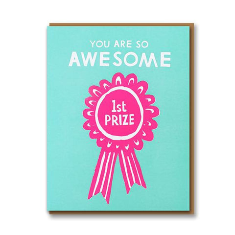 Card with pink 1st prize rosette