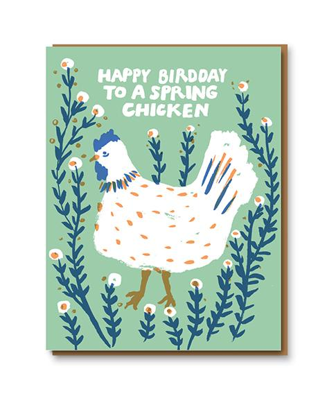 Happy Birdday Spring Chicken Card