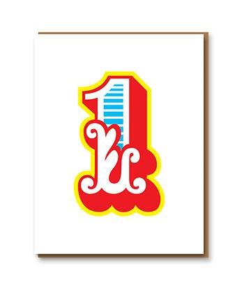 1973 Big Top Letterpress Greetings Card
