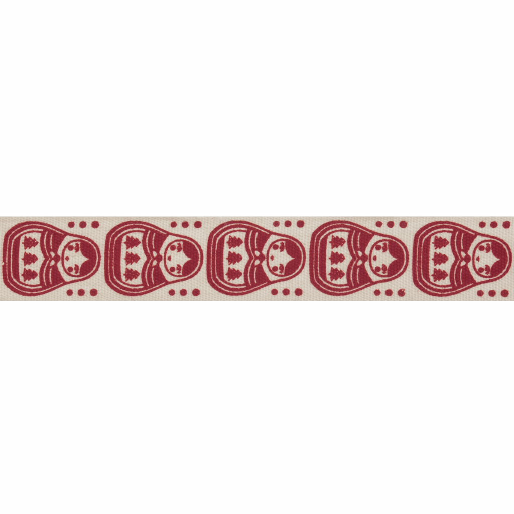 Natural Trim- 5m x 15mm - Owls - Red