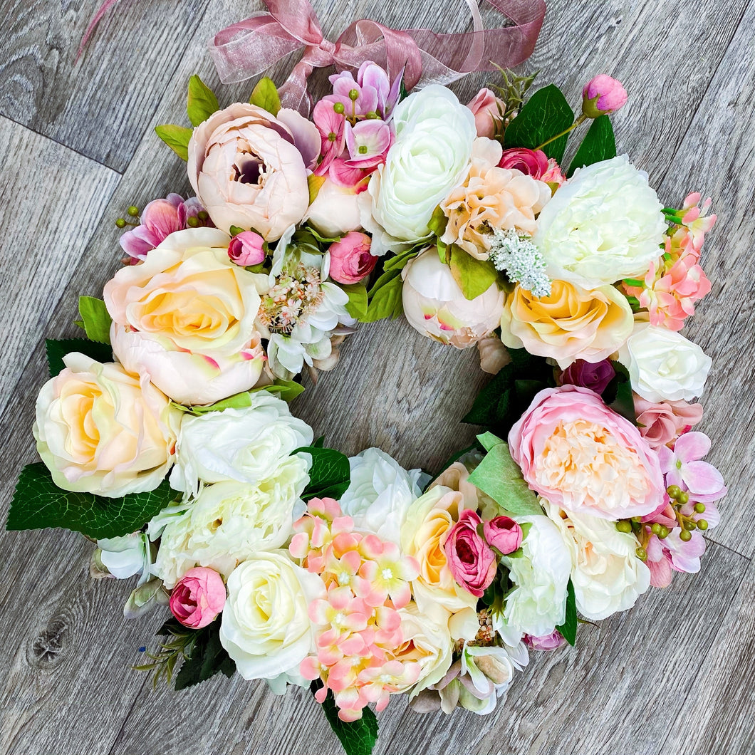 'Palest Pinks' Door Wreath