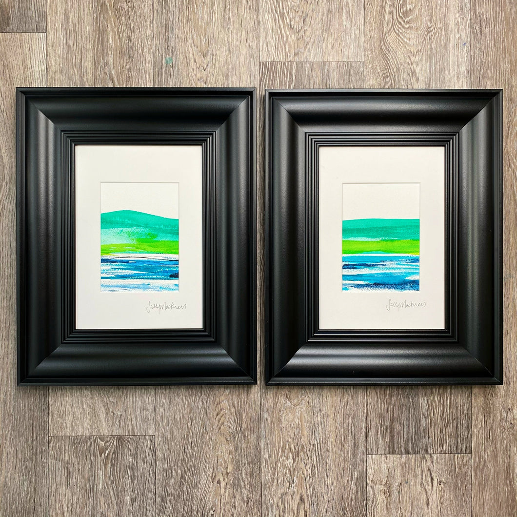 'Emerald Landscape' - two framed paintings