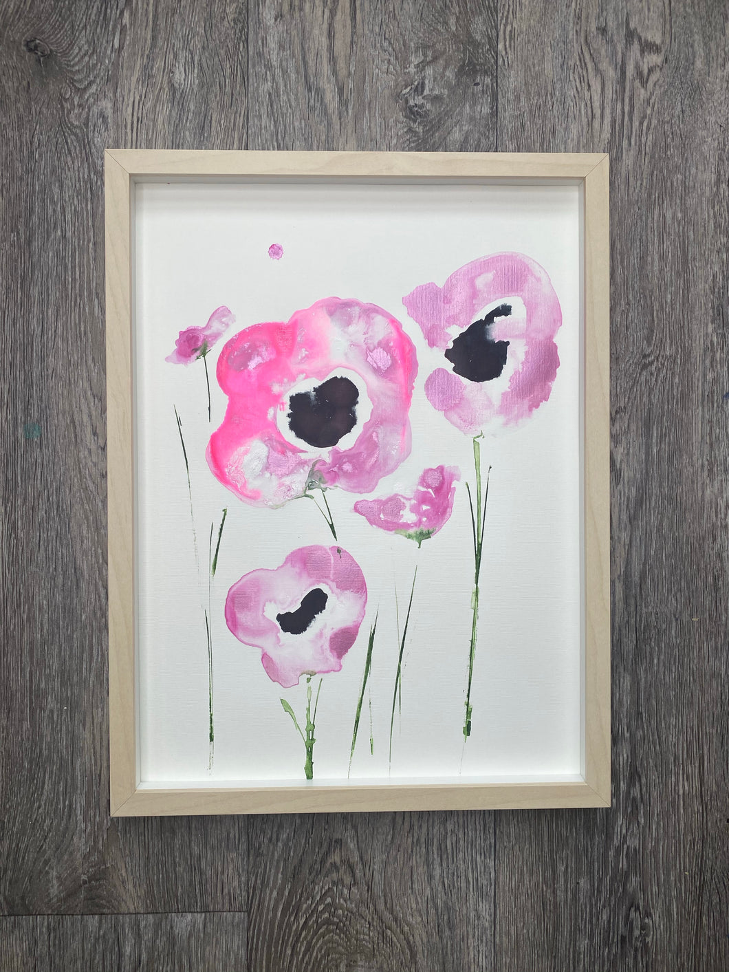Pink Poppies - framed