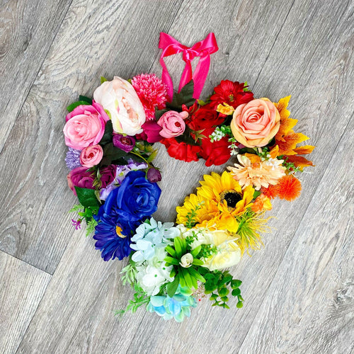 'Rainbow Heart' Door Wreath