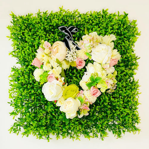 'Hearts & Flowers: fresh greens' Door Wreath