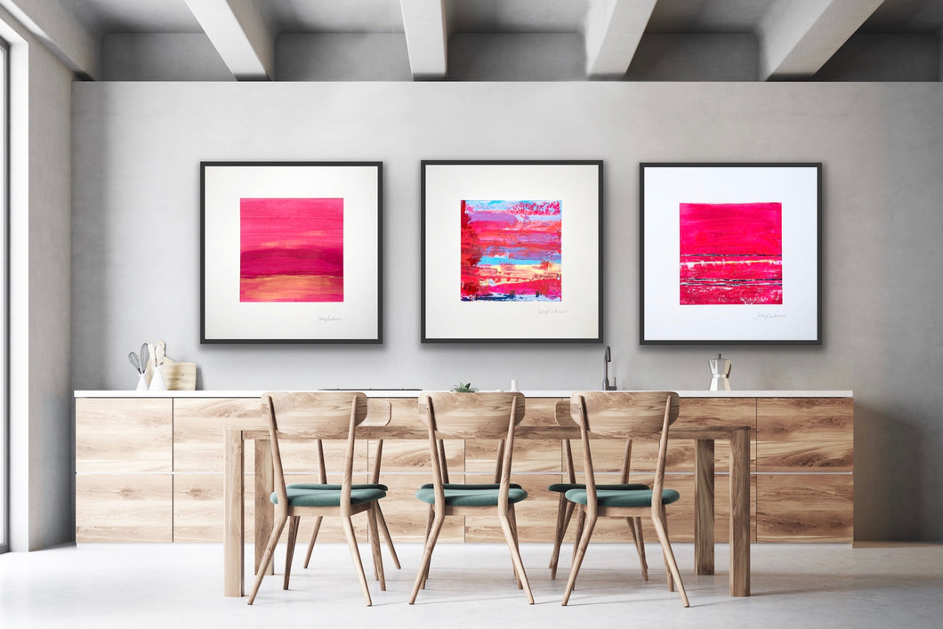'Red Hot Sunsets' - three large unframed paintings