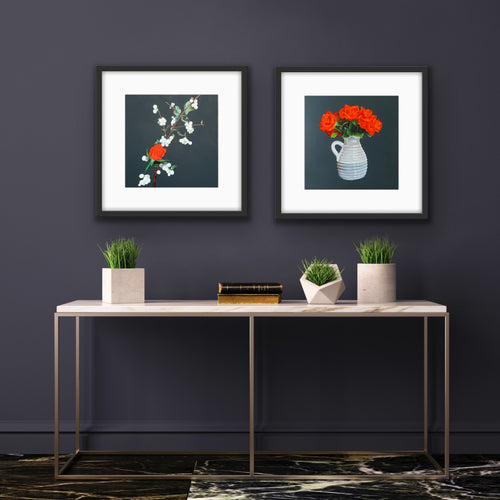 'Snow Berries & Orange Roses' - original painting by Paul Mackness
