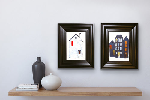 Two 'Little Houses' - framed paintings